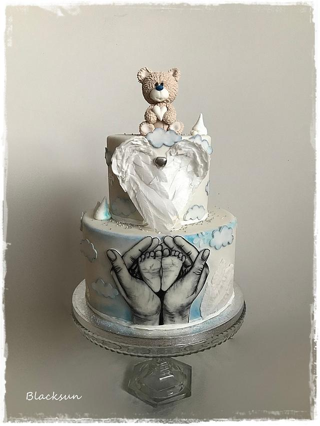 Hand painted christening cake