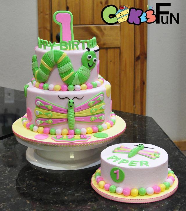 Sensational Butterfly And Caterpillar First Birthday Cake Cake By Cakesdecor Birthday Cards Printable Benkemecafe Filternl