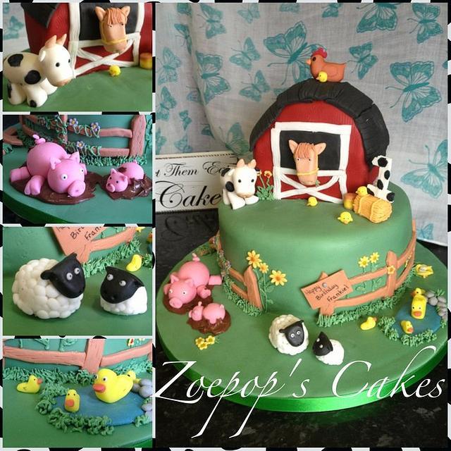 Wondrous Farm Themed First Birthday Cake With Tutorial Cake By Cakesdecor Funny Birthday Cards Online Inifodamsfinfo
