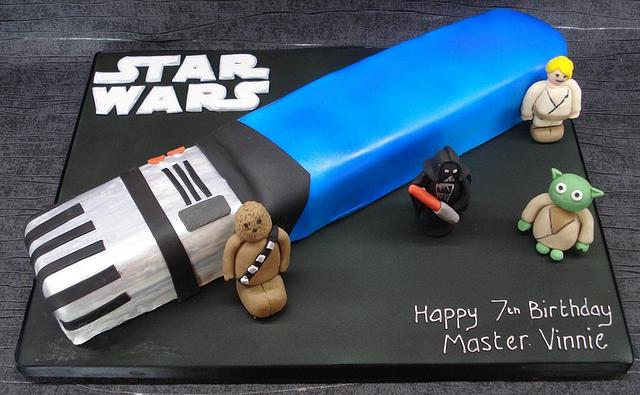 Lightsabre cake