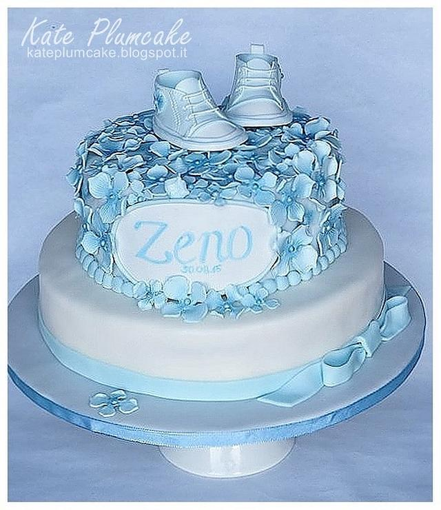 Hydrangeas Christening cake