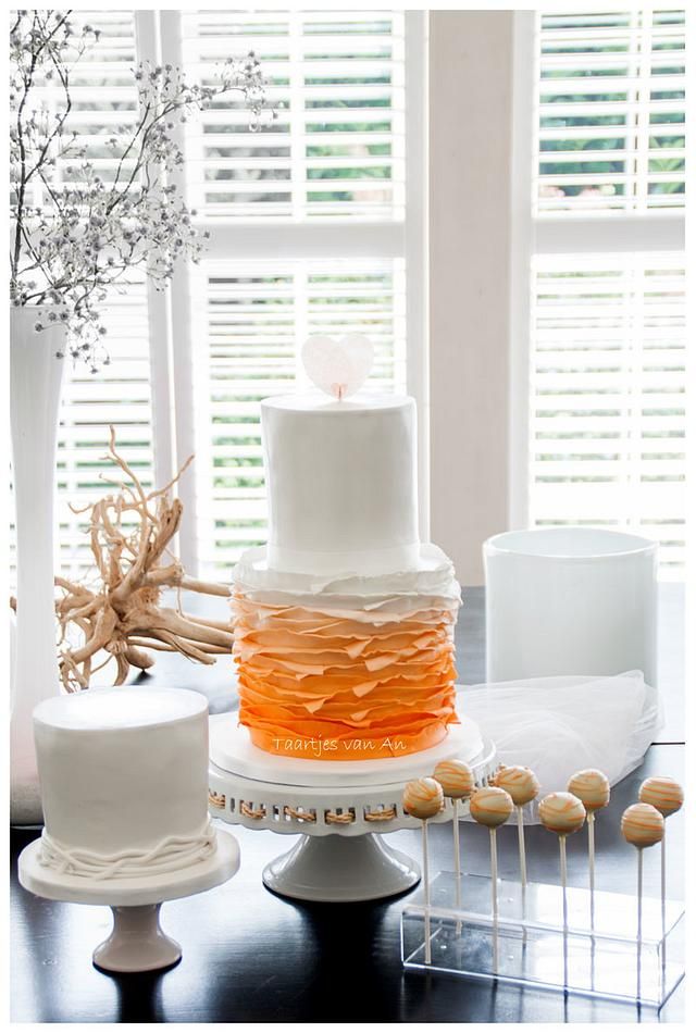Sweet Table Orange Ruffles and ricepaper heart