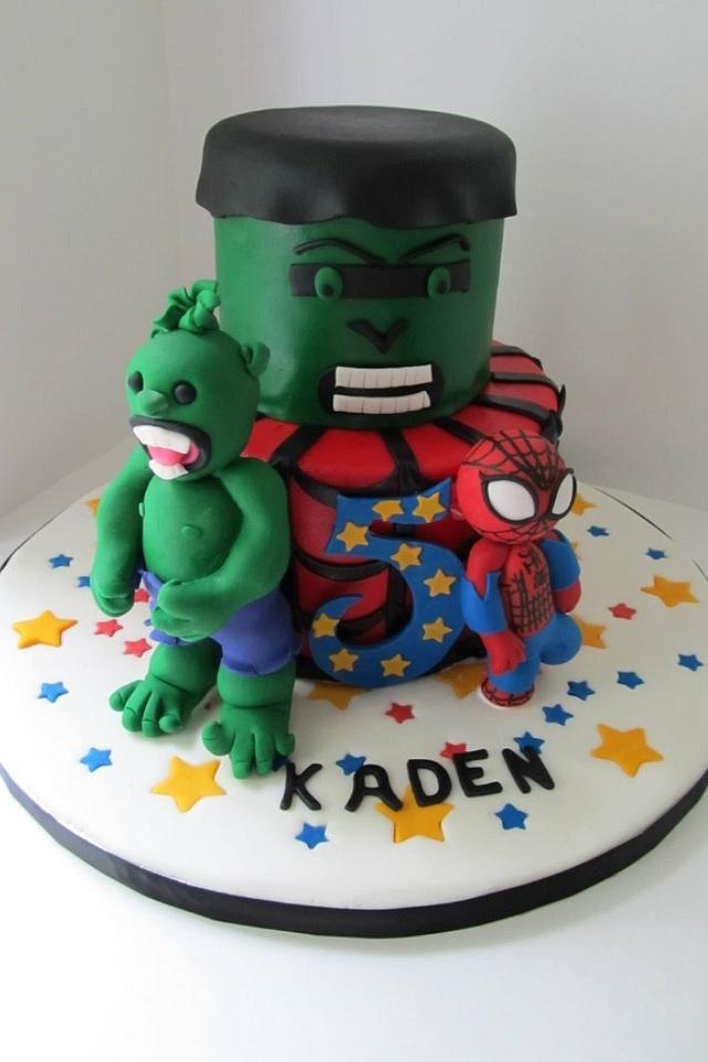 Superb Spider Man Hulk 5Th Birthday Cake Cake By Denise Cakesdecor Funny Birthday Cards Online Alyptdamsfinfo