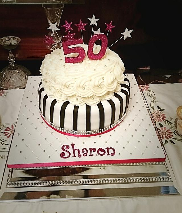 Hot Pink & Monochrome Birthday Cake