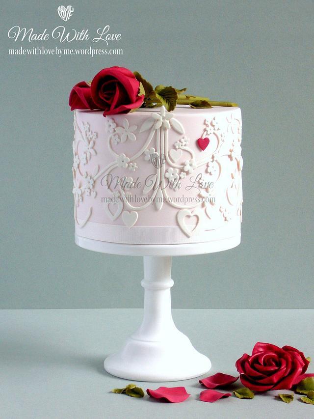 Cut Work Valentine's Day Cake