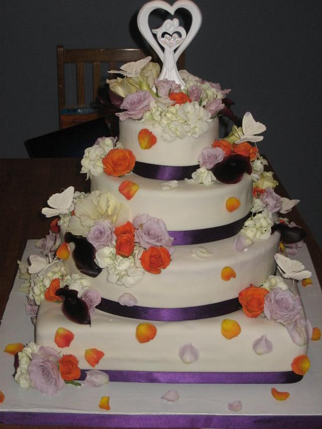 Fresh Flower Wedding Cake - Orange, Plum Colors
