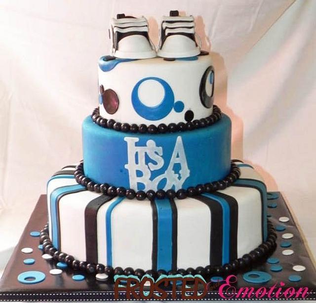 Blue/Black/White themed baby shower