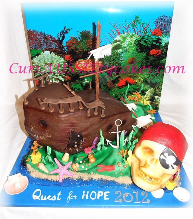 Sunken ship / skull cake