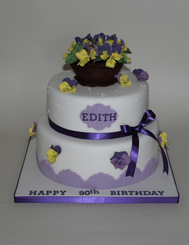 Winter Pansies Birthday Cake
