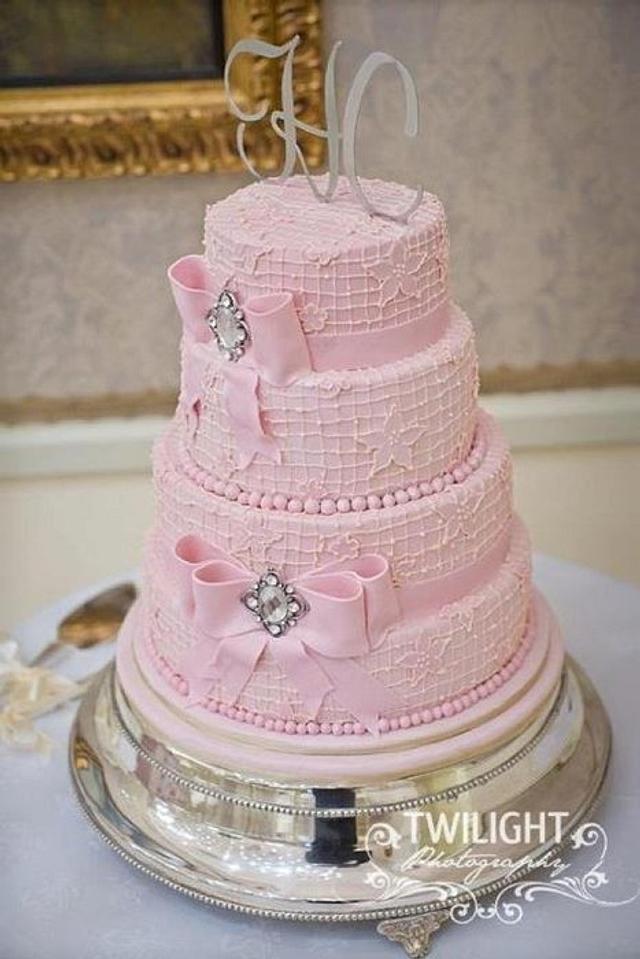 Pink vintage wedding cake