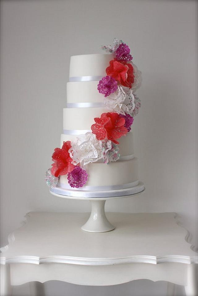 Doily Cascade Wedding Cake