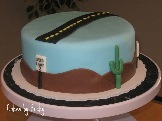 Desert Highway Birthday Cake