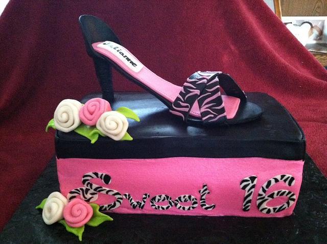 Sweet 16 Zebra High Heel Shoe on Shoe Box