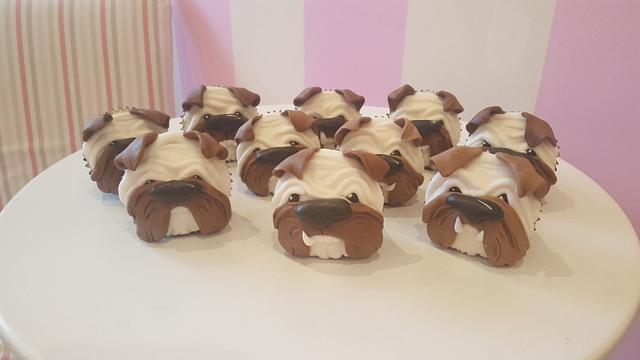 Cute little bulldog pup cakes