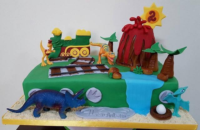 Fabulous 2Nd Birthday Dinosaur Train Cake Cake By Mariastubbs Cakesdecor Personalised Birthday Cards Veneteletsinfo