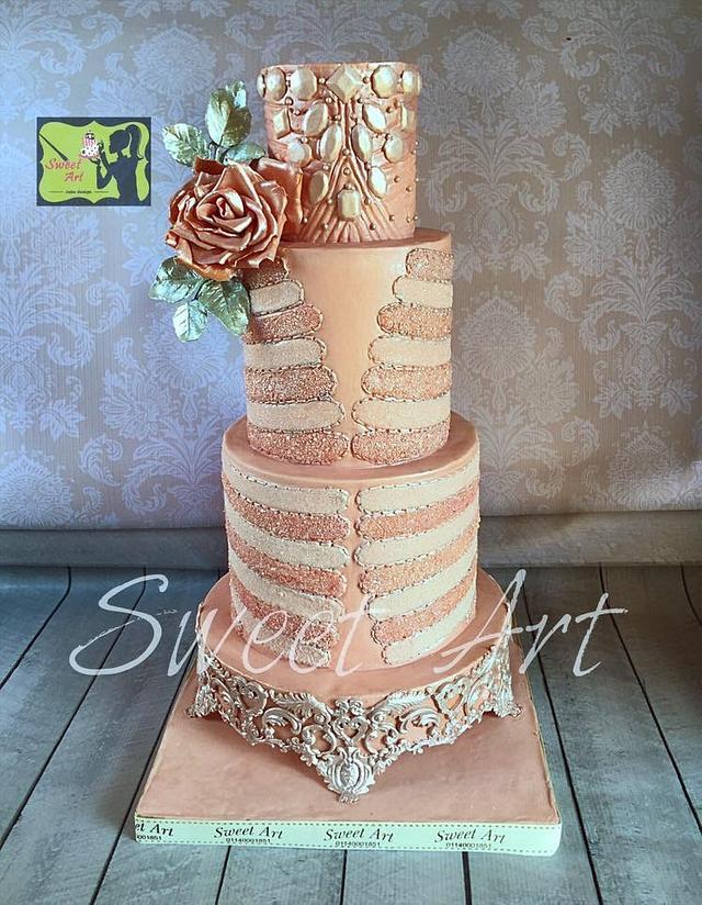 Blush&silver wedding cake