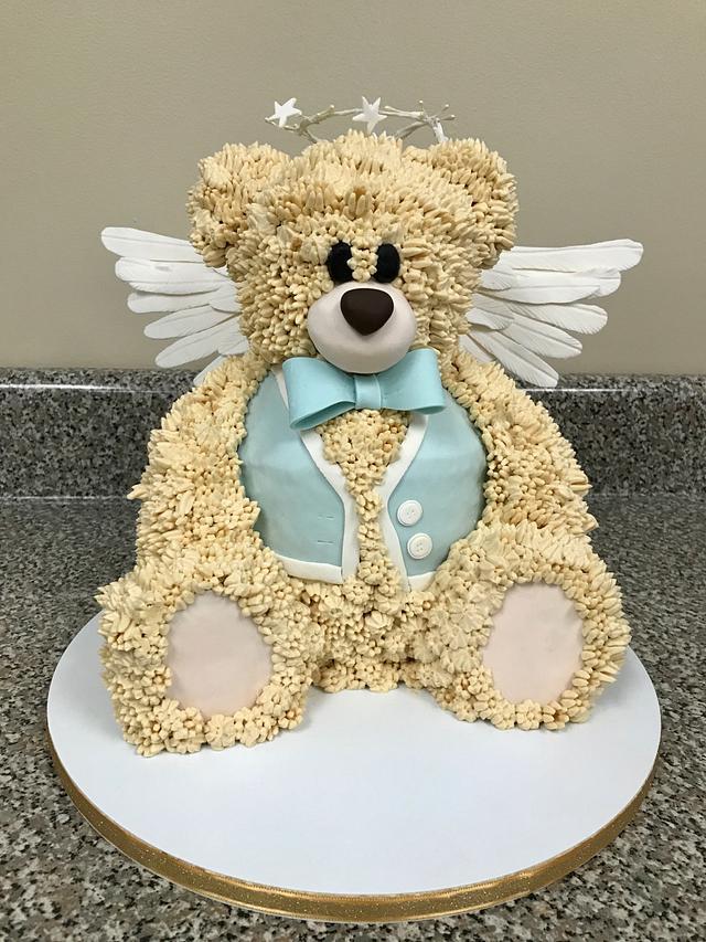 Heavenly Fuzz- Teddy Bear Baptism Cake