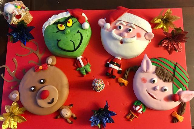 My Christmas Cakes.. Santa, Grinch, Rudolph and Elf