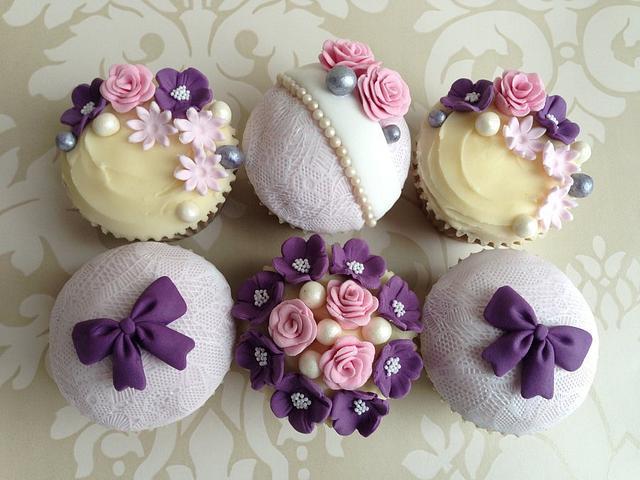 Elegant pink & purple cupcakes