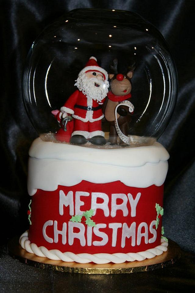 """Christmas """"snow globe"""" cake"""