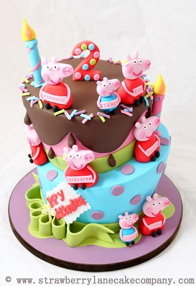 Wondrous Peppa Pig Joint Birthday Cake For Six 2 Year Olds Cake Cakesdecor Funny Birthday Cards Online Elaedamsfinfo