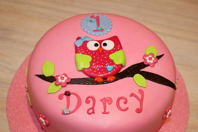 Amazing First Birthday Owl Cake Cake By Bevs Sugar Shack Cakesdecor Personalised Birthday Cards Akebfashionlily Jamesorg