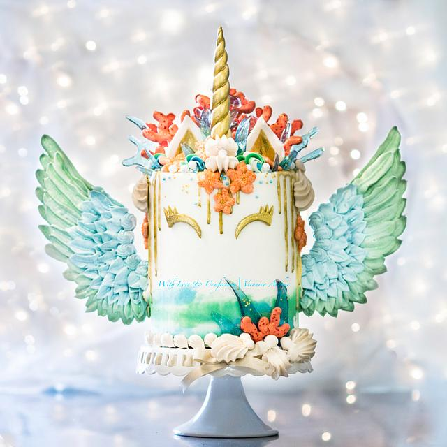 Mermaid Unicorn Cake with meringue wings by With Love & Confection | Veronica Arthur