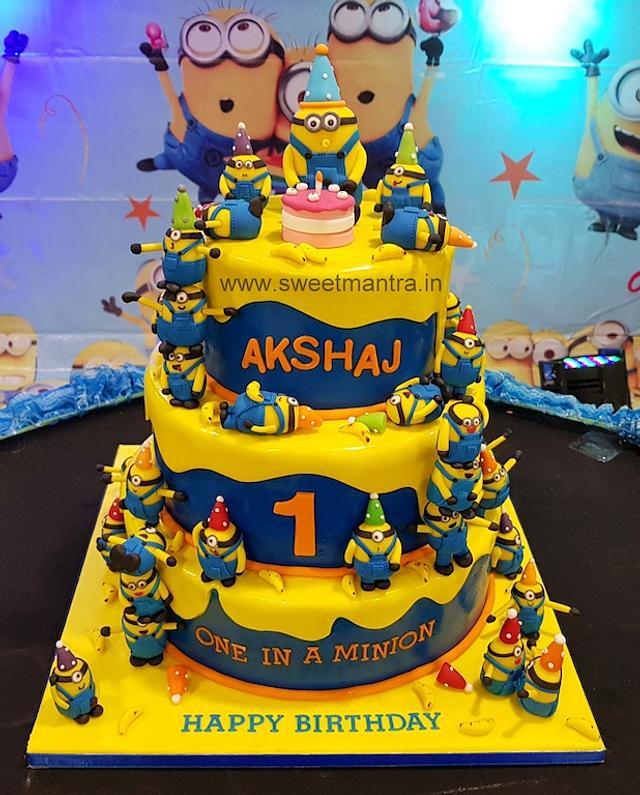 Magnificent Minions Theme 3 Tier Customized Designer Fondant Cake Cakesdecor Funny Birthday Cards Online Chimdamsfinfo