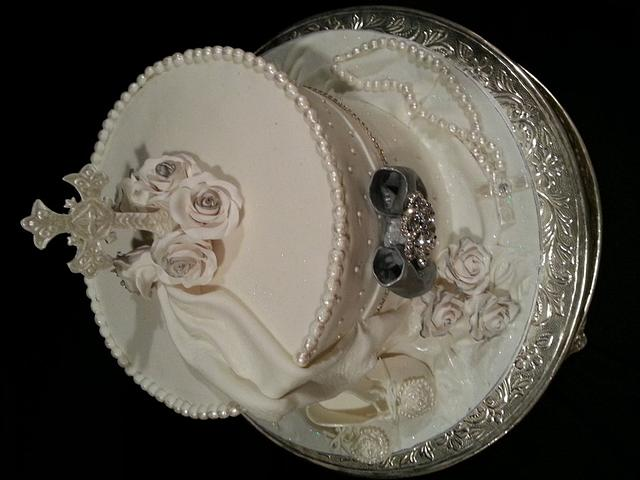 White, pearls and bling Christening cake