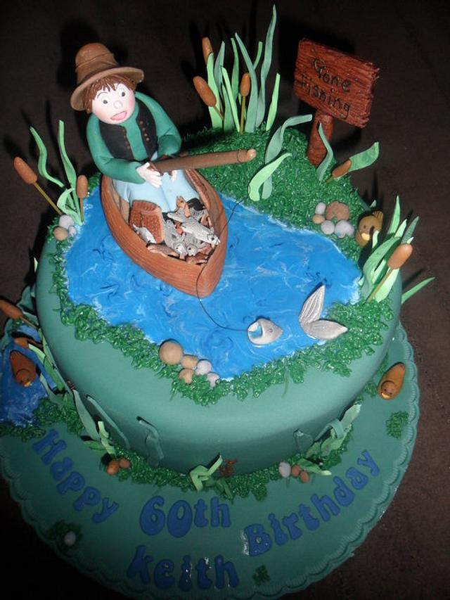 man fishing in a boat birthday cake