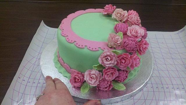Green and Pink Floral Cake