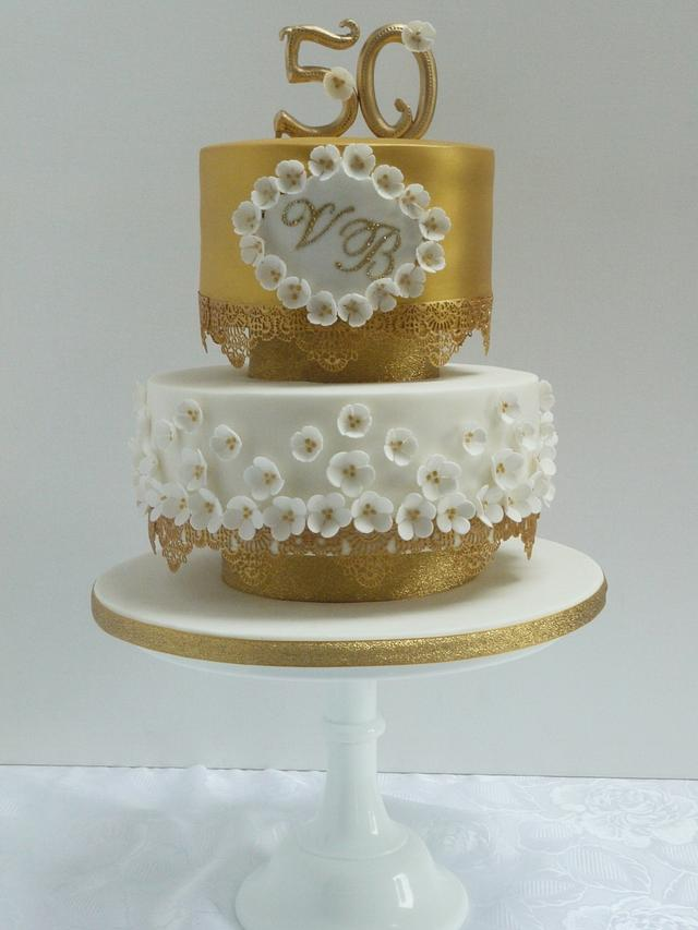 Vickie Golden Wedding Anniverary Cake
