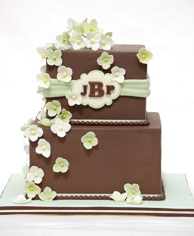 Brown and Sage Wedding Cake