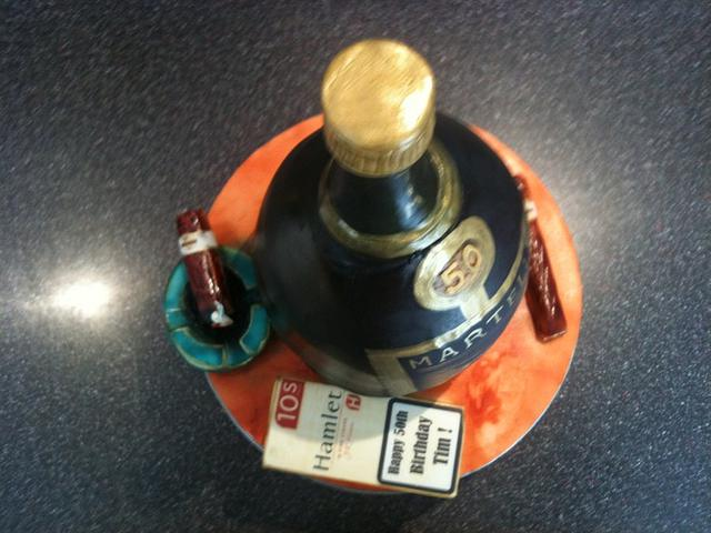 bottle cake and cigars