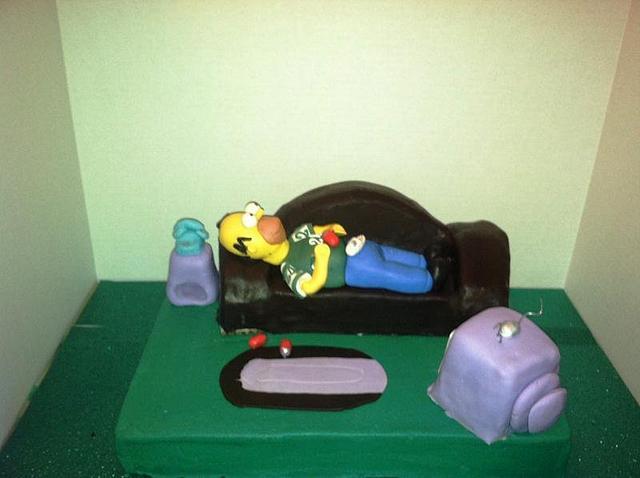 Homer Enjoying The JETS Game