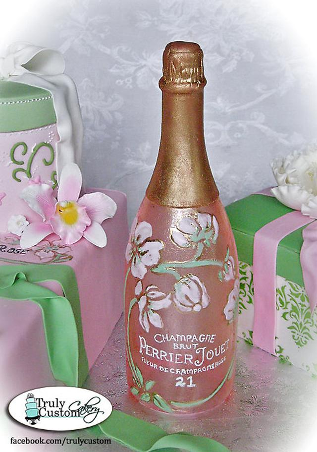 21st Birthday Champagne Bottle and Gift Box Cake