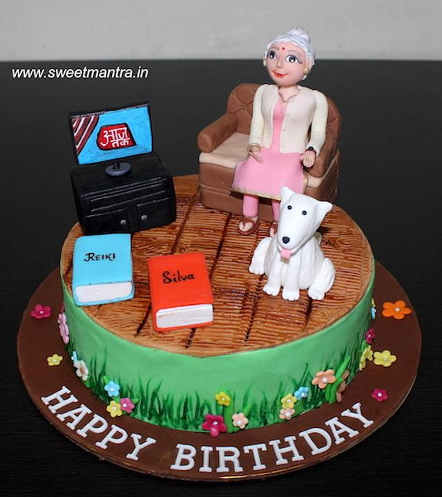 Groovy Customized Birthday Cake With Grandma Watching Tv Cake Cakesdecor Funny Birthday Cards Online Chimdamsfinfo