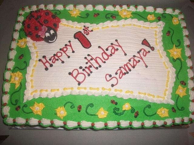 Groovy Ladybug First Birthday Sheet Cake Cake By Caymancake Cakesdecor Funny Birthday Cards Online Alyptdamsfinfo