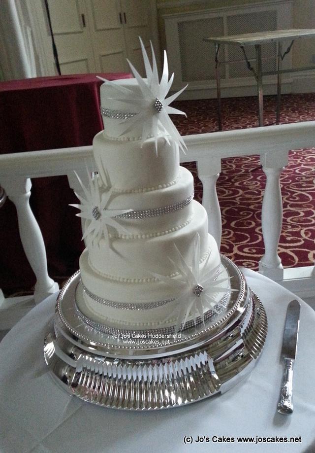 Diamante Starburst 5 Tier Wedding Cake