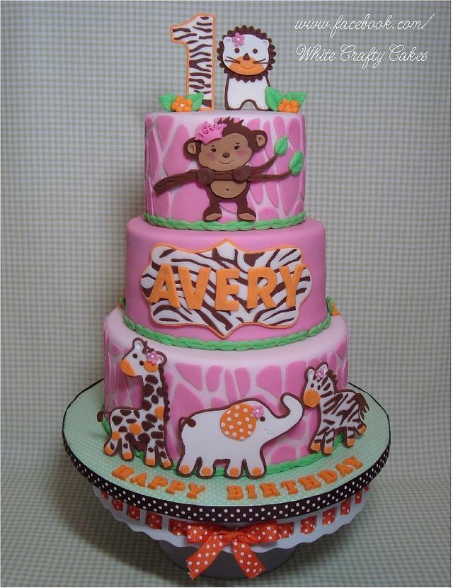 Pink Jungle/Safari First Birthday Cake
