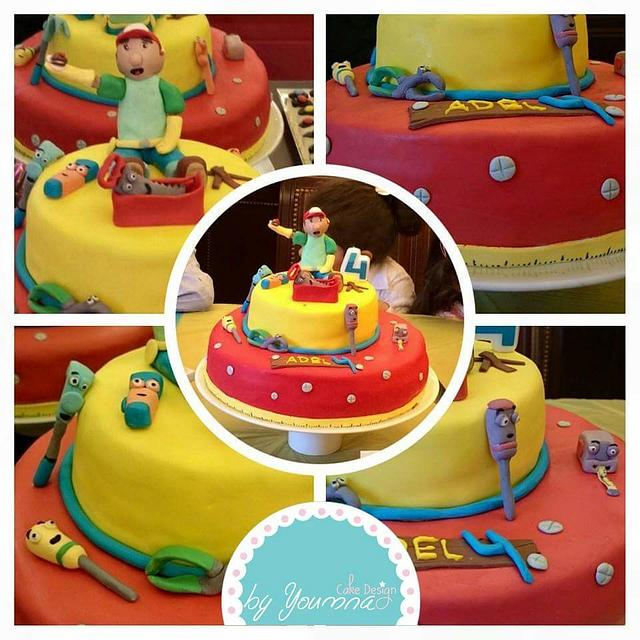 Super Handy Manny Cake By Cake Design By Youmna Cakesdecor Birthday Cards Printable Inklcafe Filternl