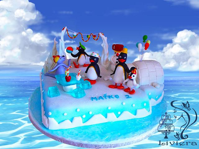 penguins- birthday cake