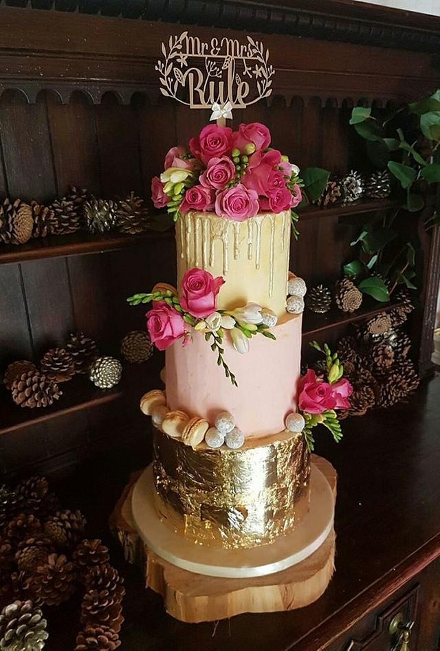 Gold Leaf Drip Cake
