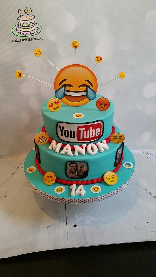Youtube/emoji cake