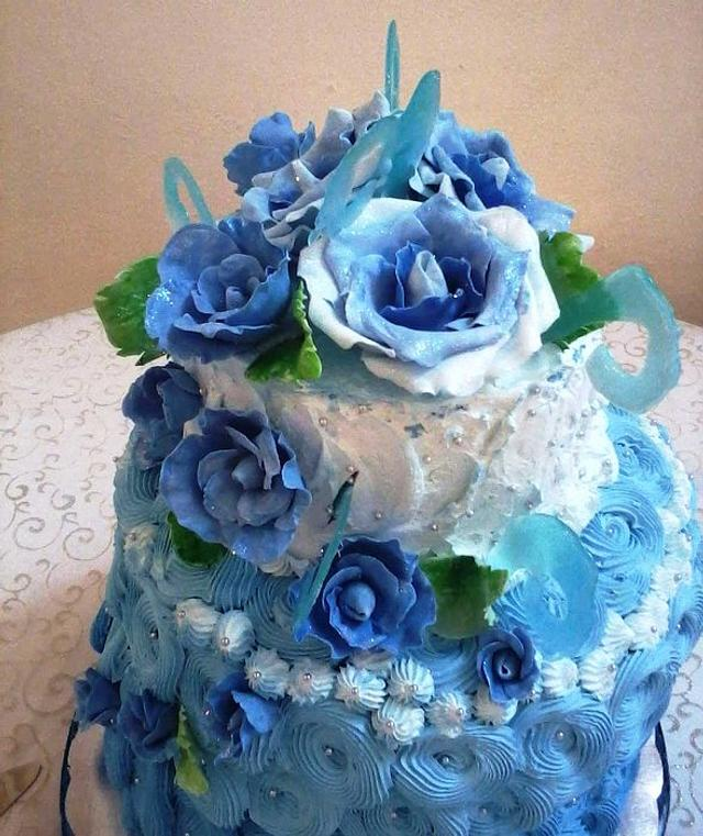 Blue roses cake