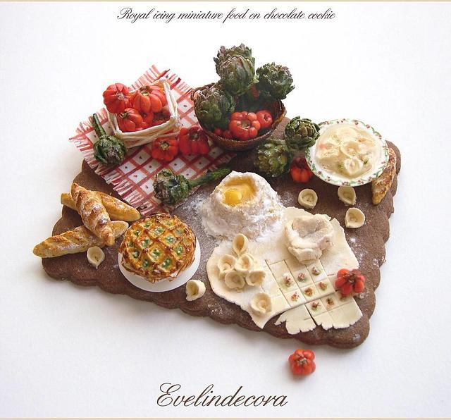 Miniature food on a cookie