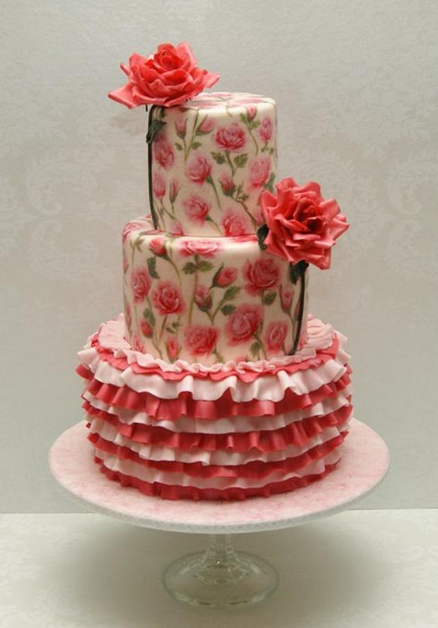 Hand-Painted Roses with Ruffles