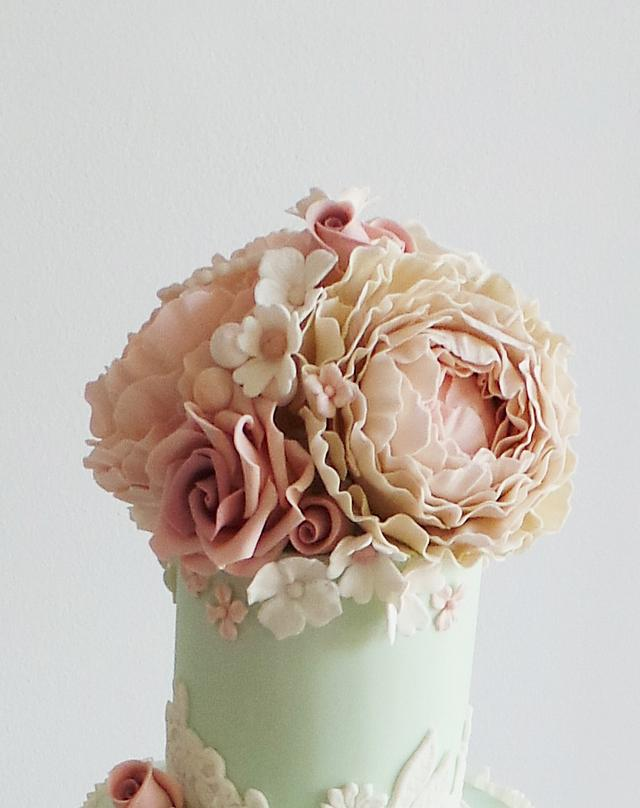 Ruffles with faded vintage peonies and roses
