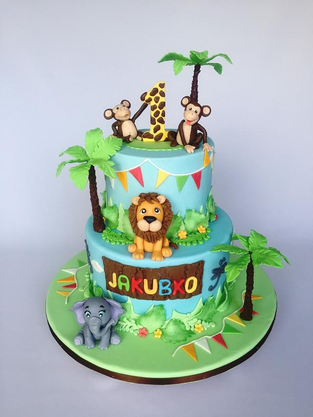 Admirable Jungle Birthday Cake Cake By Layla A Cakesdecor Personalised Birthday Cards Bromeletsinfo