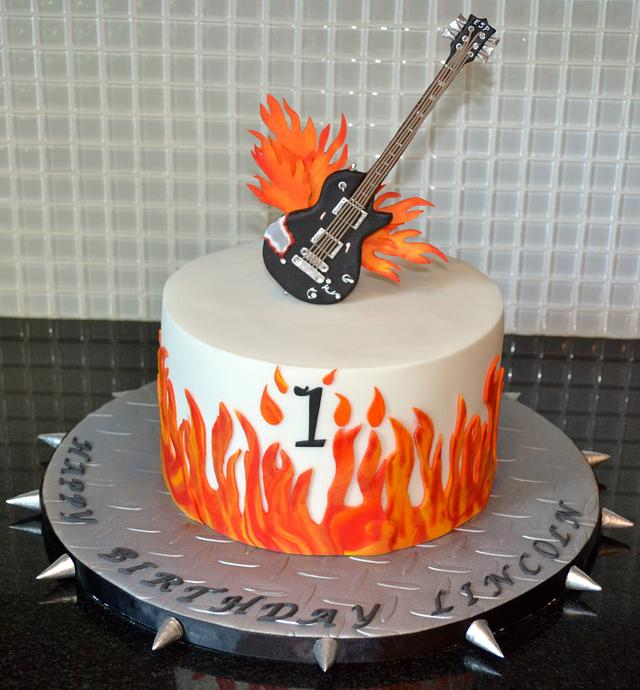 Excellent Flames Guitar First Birthday Cake Cake By Carol Cakesdecor Funny Birthday Cards Online Elaedamsfinfo